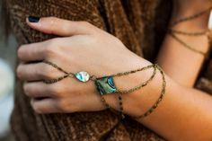 Venus Abalone Shell hand chain, bohemian hand chain, slave bracelet, hand harness, ring bracelet, bohemian jewelry, finger bracelet