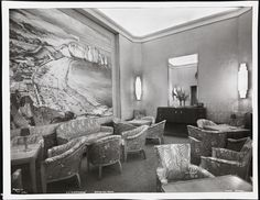 S.S. Normandie, Drawing Room, Cabin Class, ca. 1935