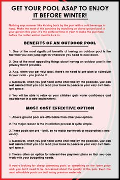Having a swimming pool in your backyard is a great investment and it increases the resale value of your property. A swimming pool also offers a place to have fun with family and friends.  Check this infographic and know more.