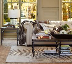 Parquet Reclaimed Wood Rectangular Coffee Table | Pottery Barn - see rug on top of rug on top of hardwood