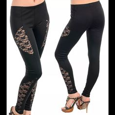 """Black lace leggings new sexy stunning Gorgeous sexy LEGGING.THEY ARE VERY WELL MADE. THROUGHOUT IN FITTING AND ARE MADE OF STRETCHY THICK FABRIC. HAVIng SHEER MESH FLORAL NET LACE INSERTS AT BOTH LEGS..   Material content: polyester ,rayon and spandex.. Measuremnts are taken BY LAYING FLAT:: ??Size : Small ??Waist(UNSTRETCH TO STRETCH) ??THIGH:9"""" ??Front Rise : 8.5"""" ??Back Rise:13.5"""" ??Inseam :30"""" ??total length : 39"""" boutique Pants Leggings"""