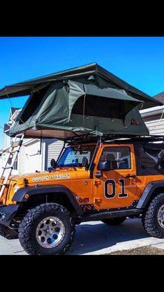 "The General Lee ""Camping"" Jeep! Jeep Jk, Jeep Wrangler Jk, Jeep Wrangler Unlimited, Jeep Truck, Jeep Tent, Jeep Camping, Badass Jeep, Jeep Mods, General Lee"