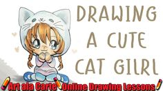 How to draw a Chibi Cat girl Plus Commissions Cute Animal Drawings, Kawaii Drawings, Art Drawings, Kawaii Art, Kawaii Anime, Chibi Cat, Online Drawing, Cat Costumes, Drawing Lessons