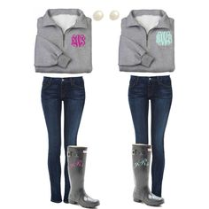 Matching BFF outfits!, created by madisonreeves16 on Polyvore Monogrammed quarter zip pullover $38 www.perfectlyjane.com
