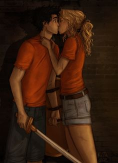 Percabeth's first kiss - re draw by RiTTa1310 on DeviantArt