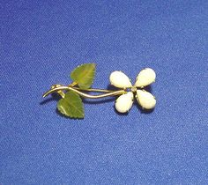 Retro Vintage Gold Filled Flower Pin w/ Opals & Jade Signed W R E #WRE
