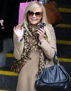 Spice Girl, Emma Bunton looking adorable in her matching ensemble.