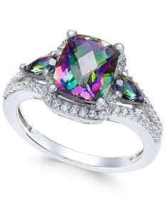 Mystic Topaz (2-1/6 ct. t.w.) and White Topaz (1/4 ct. t.w.) Ring in Sterling Silver | macys.com