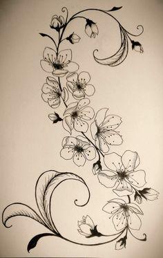 Tattoovorlage Blumenranken stilvoller Look