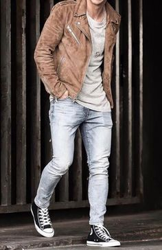 Mens Casual Dress Outfits, Denim Outfit, Jean Outfits, Cool Outfits, Denim Shirt With Jeans, Denim Shirts, Ripped Jeans, Fashion Menswear, Mens Fashion