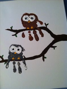 Handprint owls kids craft so easy and so cute!