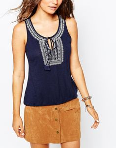 Image 3 ofNew Look Embroidered Neck Top