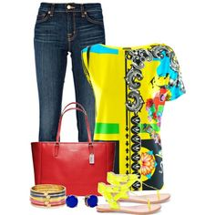 Blue Denim & Yellow by staciegh on Polyvore