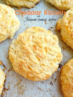 Soft and moist cheddar biscuits with jalapeno-tomato butter are perfect treats for any time of the day!