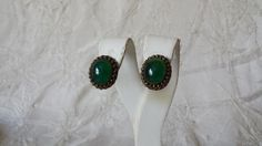 Antique Chinese Gilt on Silver Green Glass Clip Earrings ca: early 1900's