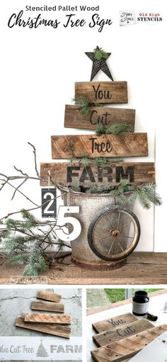 Learn how to make this charming, rustic pallet wood You Cut Tree Farm Christmas sign using Funky Junk's Old Sign Stencils and Fusion Mineral Paint. Tutorial on funkyjunkinteriors.net