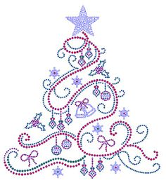 Swirl Christmas Tree with Color Rhinestone Bling