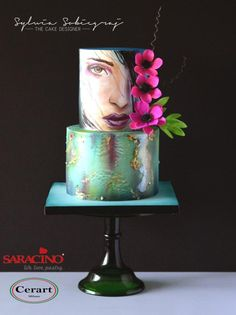 Hand painted birthday cake by Sylwia Sobiegraj The Cake Designer