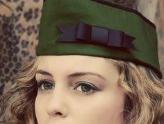 Military Hat with Bow  Army Green Vintage Style WWII Flight Cap Garrison Hat Wedge Cap Womens Large. $29.95, via Etsy.