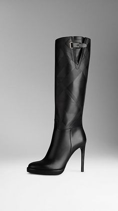 Burberry Black Leather Embossed Check Panel Leather Boots for the Modern Gladiator