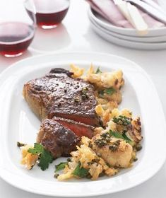 Steak With Cauliflower and Crisp Bread Crumbs from realsimple.com #myplate #protein #vegetables