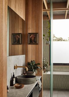 Influenced by the client's Japanese heritage, The Harry House by Archier sees an existing wearied home given a new life through a considered and textured refinement. Interior Architecture, Interior And Exterior, Australian Architecture, Weatherboard House, The Design Files, Design Blog, Bathroom Interior Design, Bathroom Designs, Inspired Homes