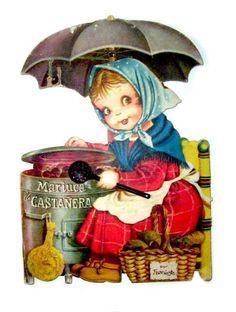 """Mariuca la castañera"" (""Mariuca the Chestnut Vendor"")     Cuentos troquelados - Vintage children's book from Spain; cover by Ferrándiz"