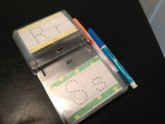 Love this - Dry erase traceable letters.Great literacy and writing center idea. Educational Activities, Learning Activities, Preschool Activities, Preschool Literacy, Alphabet Activities, Learning Tools, Fun Learning, Learning Letters, Writing Letters