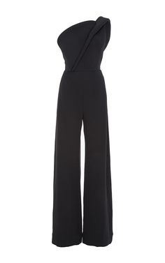 Crepe Silk One Shoulder Jumpsuit by BRANDON MAXWELL Now Available on Moda Operandi