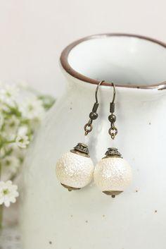 White Pearl Earring Drops, White Earrings Dangles, Bridal Earrings, White Pearl Dangles, Bridesmaids Gift, Earrings for Her, Gift under 20 by TrinketHouse on Etsy