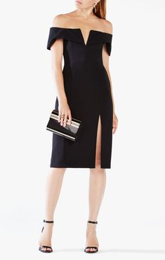 2016 Marquis Off-the-shoulder BCBG Cocktail Dress Black Bcbg Dresses, Women's Fashion Dresses, Cute Dresses, Evening Dresses, Short Dresses, Dresses With Sleeves, Fashion Wear, Fall Fashion, Fashion Women
