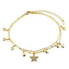 Sale Golden Star Ankle Bracelet Anklet White Crystal Lobster Clasp 9 inch ** Want to know more, visit http://www.amazon.com/gp/product/B00VM2TD5S/?tag=splendidjewelry07-20&puv=240716042003