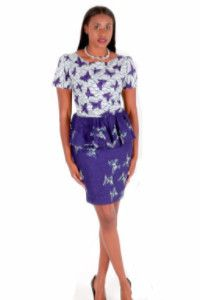 African Print Dress, Purple And White Peplum Dress ~African fashion, Ankara, kitenge, African women dresses, African prints, African men's fashion, Nigerian style, Ghanaian fashion ~DKK
