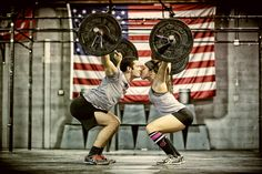 Crossfit Couple engagement picture...great idea, too bad I stink at overhead squats!