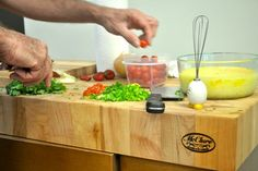 Custom-made butcher block kitchen island cart by McClure Tables.