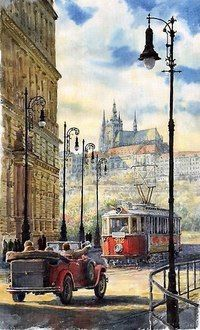 Kaprova Street by Yuriy Shevchuk Prague Kaprova Street Painting - Prague Kaprova Street Fine Art Print Watercolor City, Watercolor Landscape, Watercolor Paintings, Caravaggio, Street Painting, Cityscape Art, City Art, Beautiful Paintings, Art Pictures