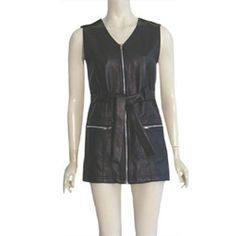 Vintage Style Black Vinyl Micro Mini Go-Go Dress