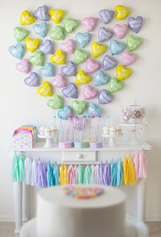 Conversation Hearts Themed Party with an amazing balloon heart backdrop by Conversation heart balloons from Valentine Theme, Valentines Day Party, Valentines Day Decorations, Diy Party Decorations, Birthday Decorations, Valentinstag Party, Heart Balloons, Mylar Balloons, First Birthday Themes