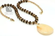 Yellow Jade Aventurine Beaded Gemstone Necklace (N078) by Crystal Allure Beaded Jewelry