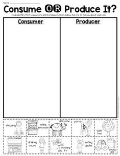 Consumer and Producer sort page. For First Grade or Kindergarten. Perfect to provide practicing identifying the difference …or for an assessment piece. $