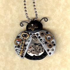 Steampunk Silver Color Ladybug Key Necklace Polymer Clay Jewelry. $26.00, via Etsy.