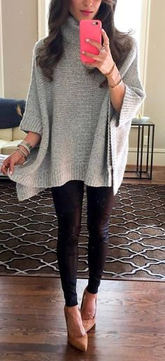 fashionable winter outfit / grey knit poncho + black skinnies + heels