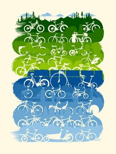 """cadenced: """" 2013 30 Days of Biking poster by Adam Turman found on the ARTCRANK website. Idea is to get people riding every day in April. You can pledge on the campaign's website. """""""