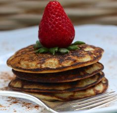 Fluffy Coconut Flour Pancakes - coconut flour, baking soda, salt, stevia, eggs, unsweetened almond milk, vanilla, optional add-ins (blueberries, blackberries, chocolate chips), coconut oil (for griddle)