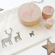 Stag Family Stamp - Deer Family Stamp - Christmas Stag Stamp - Baby Deer Stamp - Christmas Stamps - Gift Tag Stamp - Hand Carved Rubber Stam Family Christmas, Christmas Presents, Brown Paper Wrapping, Deer Family, Baby Deer, Present Gift, Gift Tags, Hand Carved, Doodles