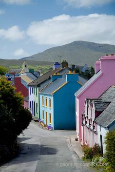 Eyeries village, Beara Peninsula, Co Cork, Ireland. I just love all the bright colours.