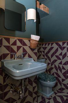 Cervo's: 15 Design Ideas to Steal from a Tiny Portuguese Wine Bar in Manhattan - Remodelista Metro Tiles Bathroom, Painting Bathroom Tiles, Cozy Bathroom, Bathroom Interior, Small Bathroom, Restaurant Bad, Restaurant Bathroom, Small Toilet, New Toilet