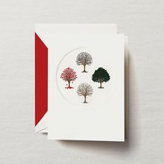 Hand Engraved Four Seasons Tree Greeting Card: Winter, spring, summer, fall. Celebrate the seasons — from bright blooms to lawns blanketed in white — with an engraved holiday card that does just that, reminding its recipients to spread joy and cheer every day of the year.