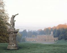 grand lawn. jane austen-esque. View of Dyrham Park from the entrance drive, with Claude David's statue of Neptune. Via The National Trust Collections Treasure Hunt
