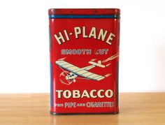 Vintage HiPlane Pocket Tobacco Tin with by RedRavenCollectibles, $145.00